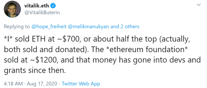 Vitalik Buterin Sold His Ether for Fiat Not Bitcoin