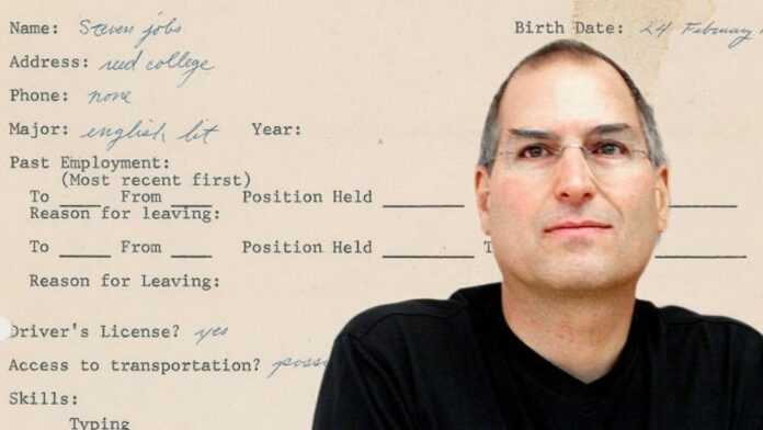 Steve Jobs Physical Job Application and Mirror Copy in NFT